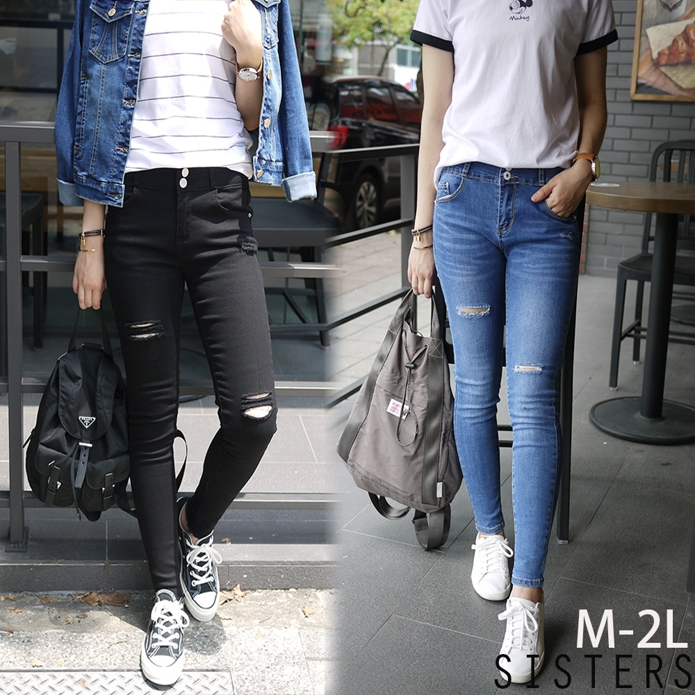 超顯瘦割破Skinny窄管牛仔褲(M-2L) SISTERS