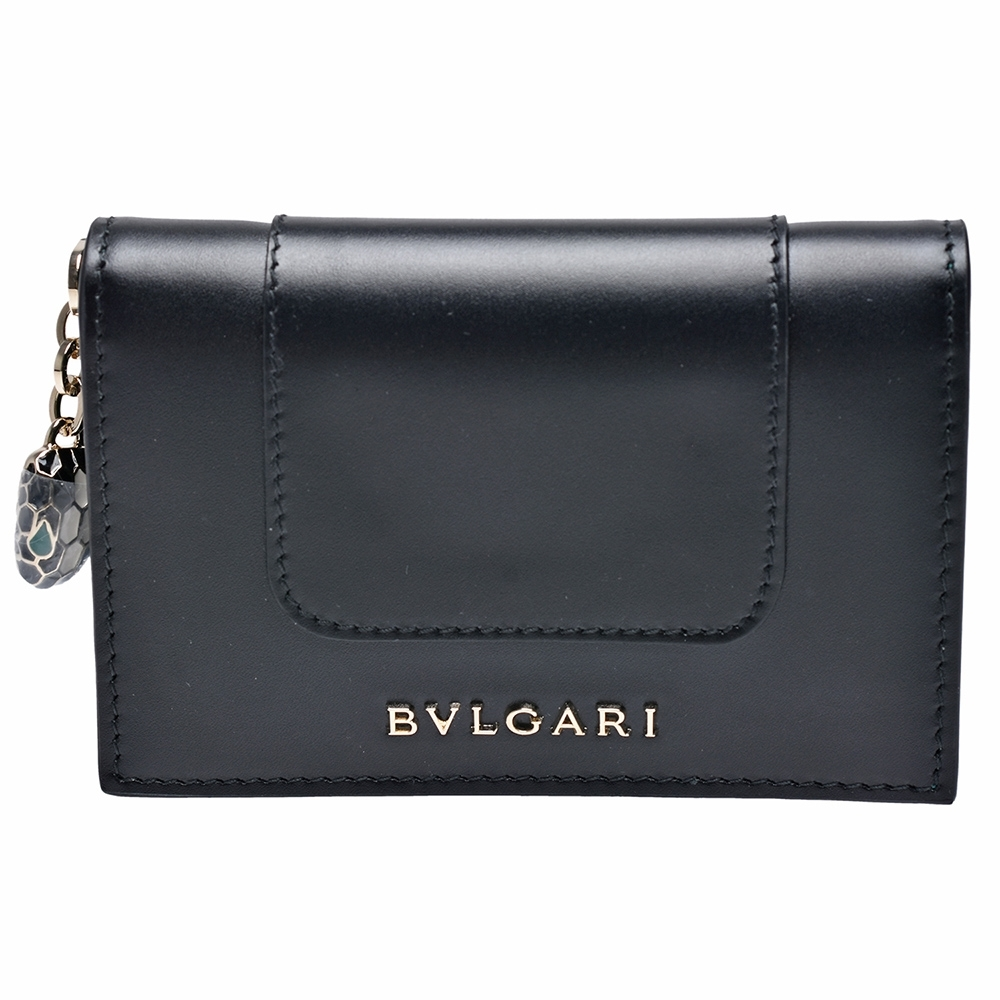 BVLGARI 經典Serpenti系列小牛皮琺瑯蛇頭墜飾信用卡夾(黑色)