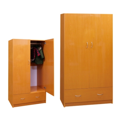 韓菲-木紋色一抽塑鋼雙門衣櫃-91x52.5x180cm