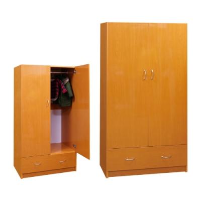 韓菲-木紋色一抽塑鋼雙門衣櫃-91x46.5x180cm