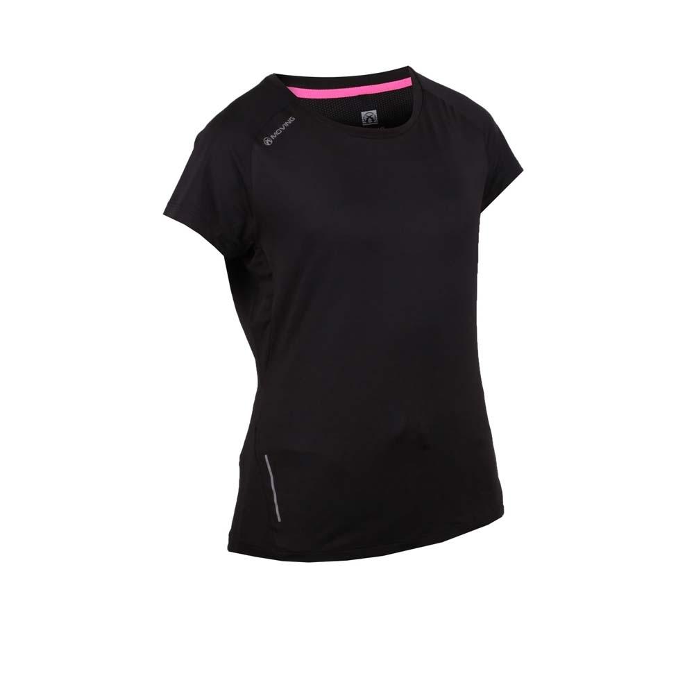 FIRESTAR 女彈性短袖圓領T恤-慢跑 路跑 黑
