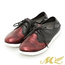 MK-金屬撞色休閒德比懶人鞋-深紅色  (兩色)