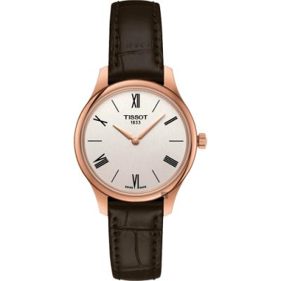 TISSOT天梭 Tradition 系列石英女錶-玫瑰金x咖啡/31mm T0632093603800