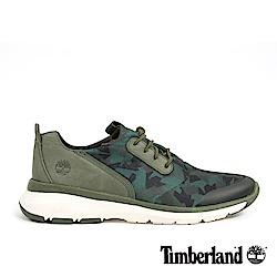 Timberland 男款深綠色皮革印花淺口鞋|A1NRD