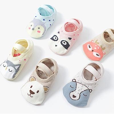 JoyNa 動物防滑襪地板襪襪船襪寶寶襪子-三雙入