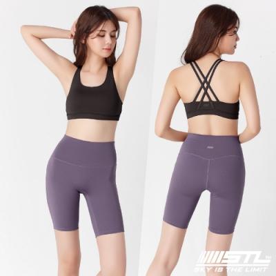 韓國 STL Yoga leggings FREE LINE 5『無尷尬線+高腰』韓國瑜珈 訓練拉提 自由曲線緊身5分短褲 芋紫灰SoftPurple