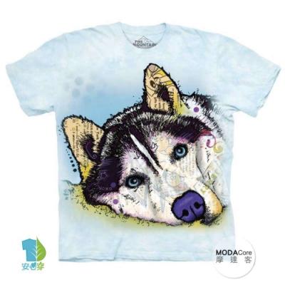 摩達客(預購)美國進口The Mountain 彩繪哈士奇雪橇犬 純棉環保短袖T恤