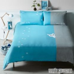 YVONNE COLLECTION貓咪雙人三件式被套+枕套組(6x7呎)-碧藍