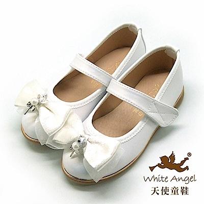 天使童鞋 雪紡蝴蝶公主鞋(中-大童)JU8033-白