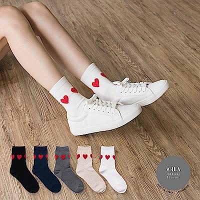 阿華有事嗎 韓國襪子 絨毛愛心中筒襪 韓妞必備長襪 正韓百搭純棉襪