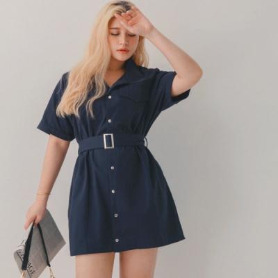 AIR SPACE LADY 中大尺碼 工裝感澎袖短洋裝(附腰帶)(深藍)