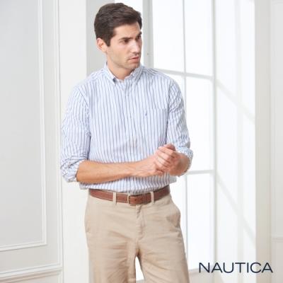 Nautica經典細直條紋長袖襯衫-白藍條紋