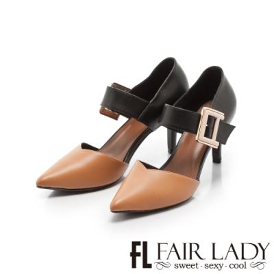 Fair Lady優雅小姐Miss Elegant 拼接扣環繫帶尖頭高跟鞋 沙漠