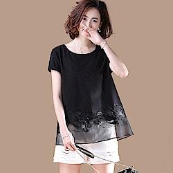 初色  圓領薄紗刺繡短袖上衣-黑色-(M-2XL可選)