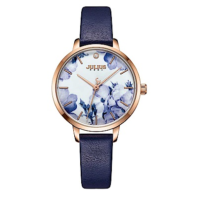 JULIUS聚利時 森林精靈印花復古時尚腕錶-深藍色/29mm