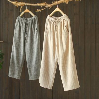 垂墜感棉麻鬆緊腰寬管褲寬鬆顯瘦長褲-設計所在