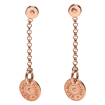 HERMES 經典Gambade系列鑽石鑲飾K金垂墜穿式耳環(玫瑰金)