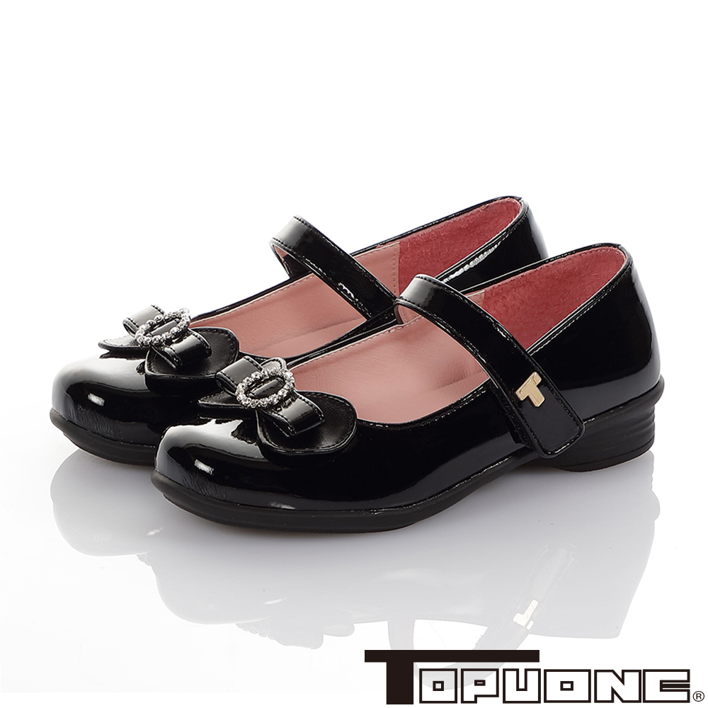 TOPUONE童鞋 傳統手工鞋廠水鑽減壓公主皮鞋-黑