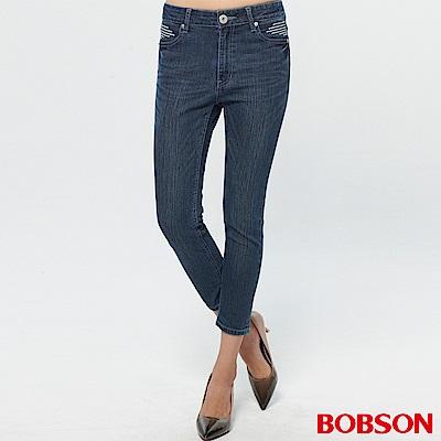 BOBSON 女款鑽飾刺繡牛仔七分褲