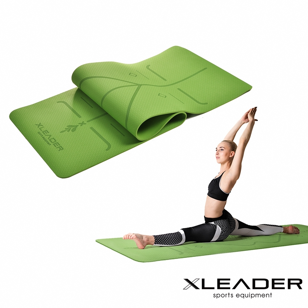 Leader X 環保TPE雙面防滑體位中導線瑜珈墊6mm 附收納繩【限定版】兩色可選