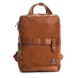 SharPei沙皮狗-城市漫遊x雙層拉鍊造型後背包-拿鐵棕