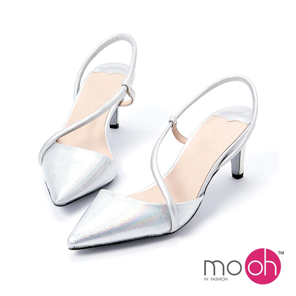 mo.oh-尖頭低跟鏤空婚鞋涼鞋-幻彩銀色