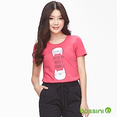 bossini女裝-印花短袖T恤14桃紅
