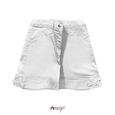 Annys甜美休閒口袋雙蝴蝶結造型反摺短褲*9186灰
