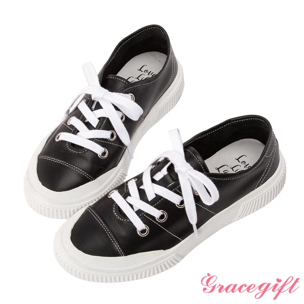 Grace gift X Kerina -聯名真皮2WAY綁帶休閒鞋 黑