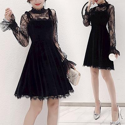 優雅輕盈黑色蕾絲立領洋裝S-2XL-REKO