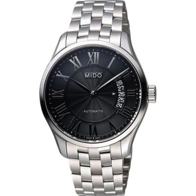 MIDO Belluna II Gent 羅馬機械腕錶-黑x銀/40mm M0244071105300