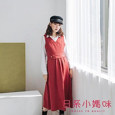 日系小媽咪孕婦裝-正韓孕婦裝 韓系珍珠釦背心針織洋裝
