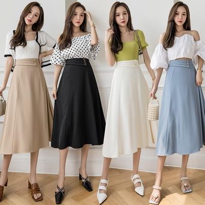 通勤純色氣質三釦後鬆緊中長半身裙S-XL(共四色)-沐朵