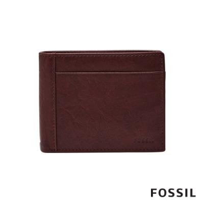 FOSSIL NEEL 黑櫻桃紅色真皮證件格零錢袋男夾