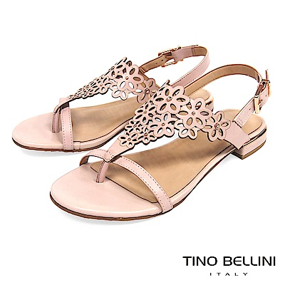 Tino Bellini 巴西進口花朵鏤空夾腳平底涼鞋 _ 粉