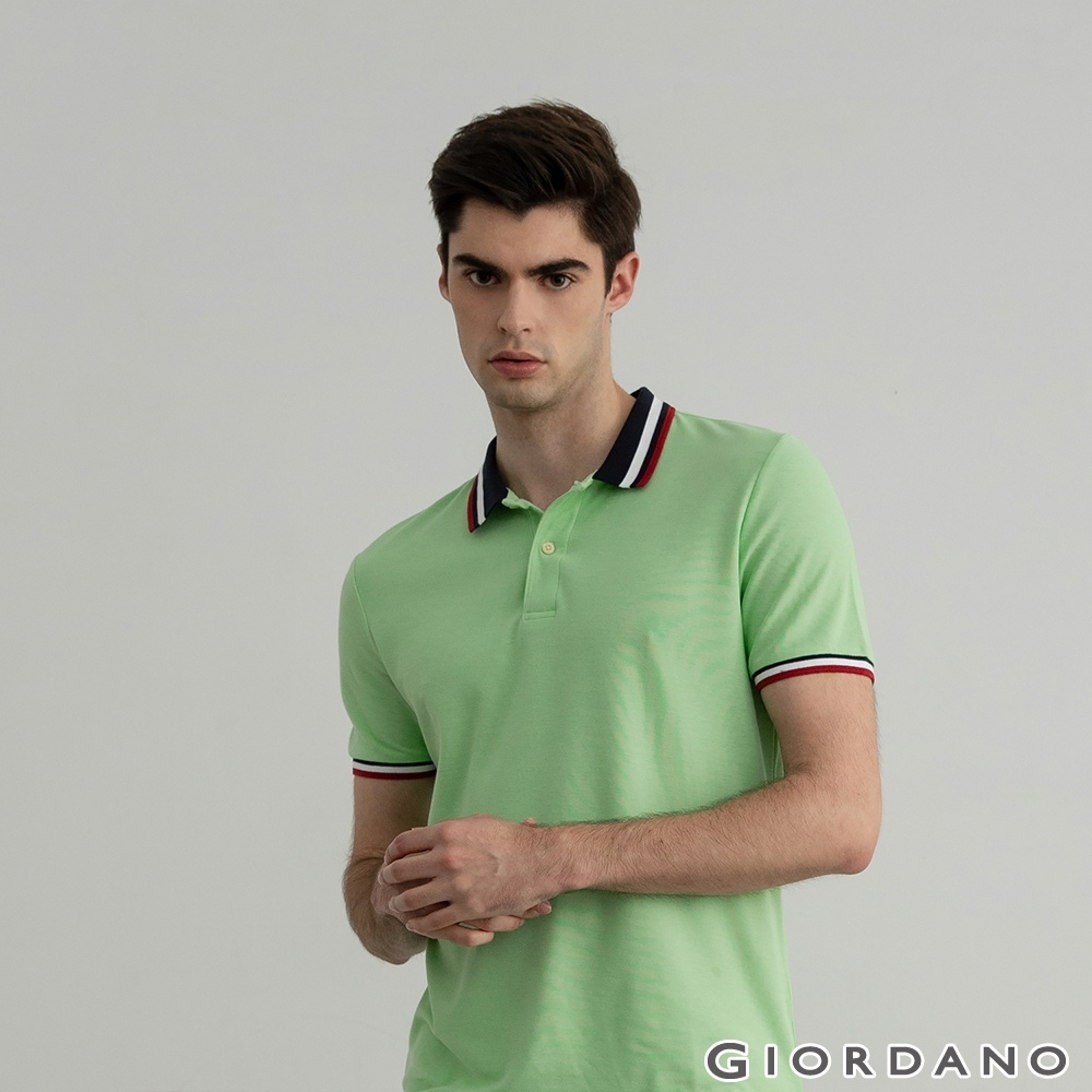 GIORDANO 男裝素色線條POLO衫 - 48 油綠