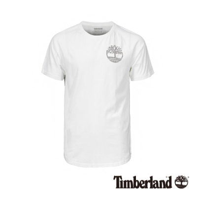 Timberland 男款白色LOGO印花圓領短袖T桖|A1W7J
