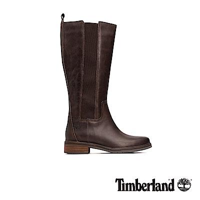 Timberland 女款中咖啡色全粒面皮革及膝靴|A1SBW