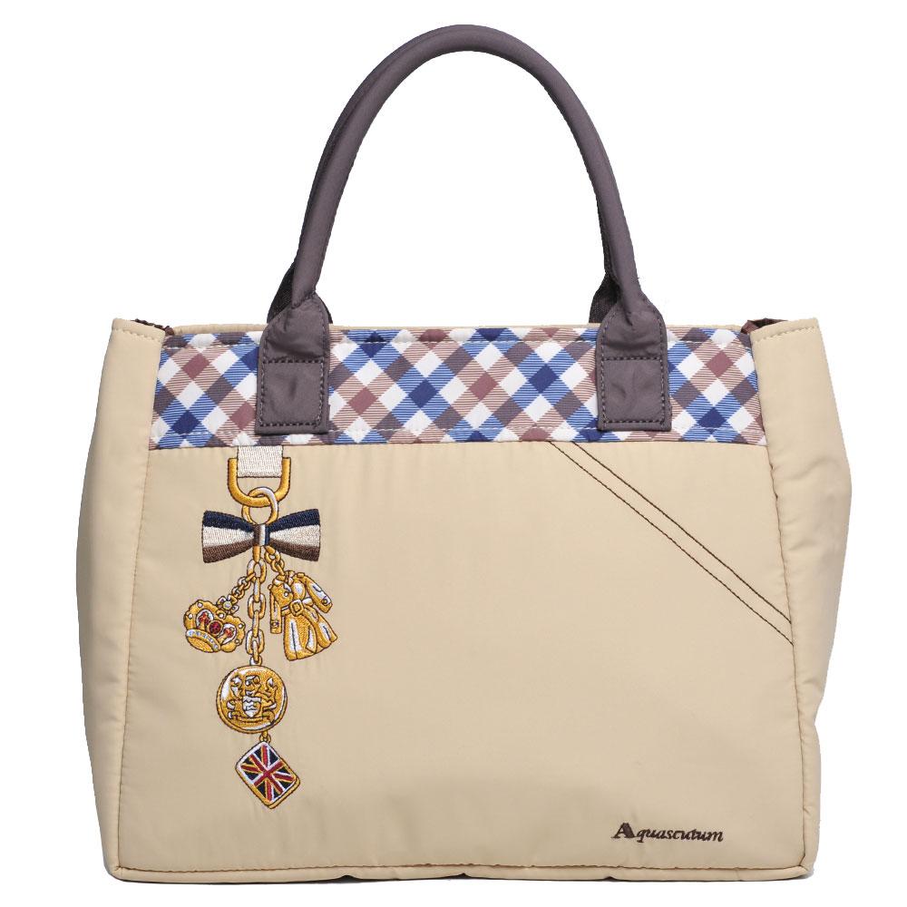 Aquascutum 刺繡字母LOGO品牌格紋造型吊飾刺繡手提包(卡其色) @ Y!購物