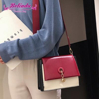 【Belinda】米堤復古綴飾撞色側背斜背包(紅色)