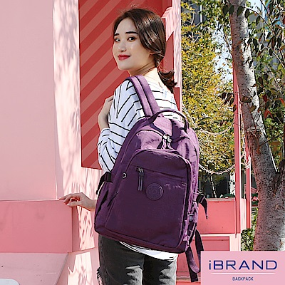 iBrand後背包 簡約素色超輕盈尼龍口袋後背包-典雅紫