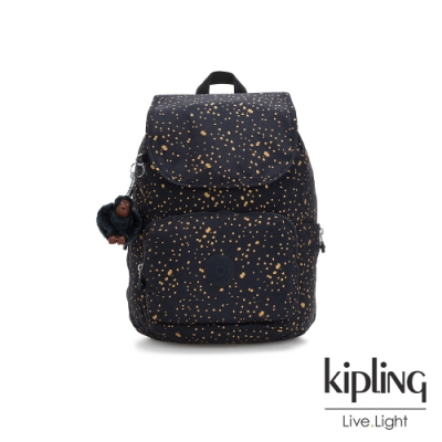 Kipling 燦爛潑墨星光掀蓋拉鍊後背包-CAYENNE