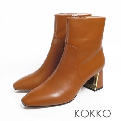 KOKKO - 限量訂製方頭牛皮鏡面粗跟 - 焦糖拿鐵