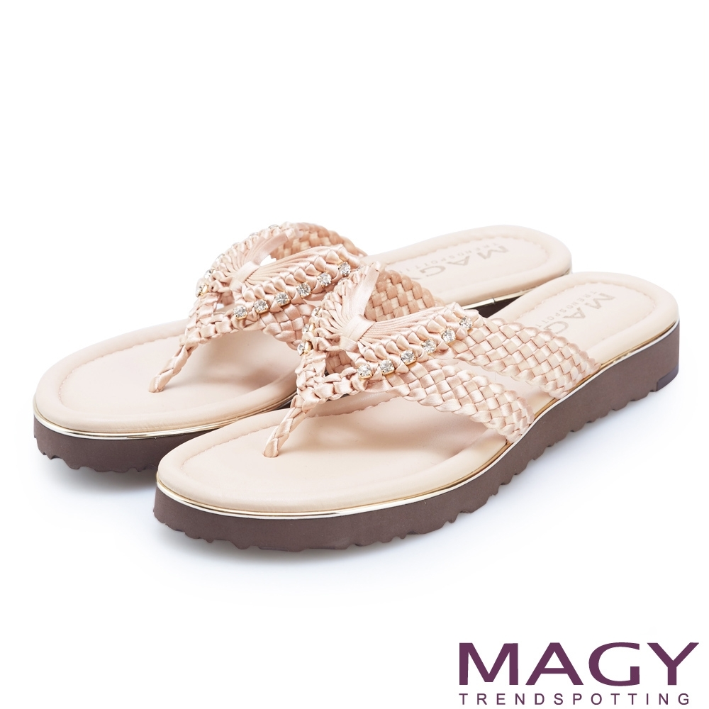 MAGY 造型編織水鑽夾腳拖鞋 粉色