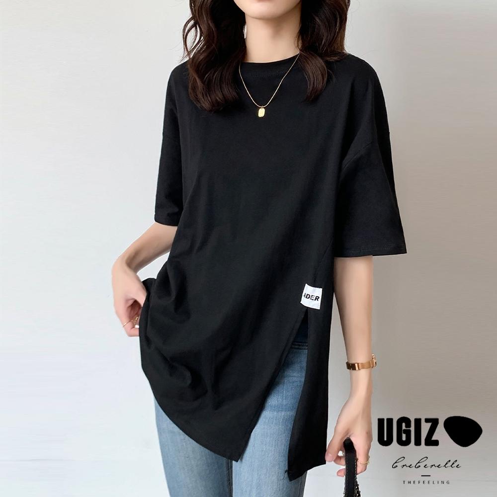 UGIZ-修身圓領純色下擺開衩造型上衣-3色(M-XL)