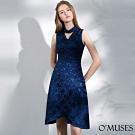 OMUSES V領刺繡改良式旗袍洋裝