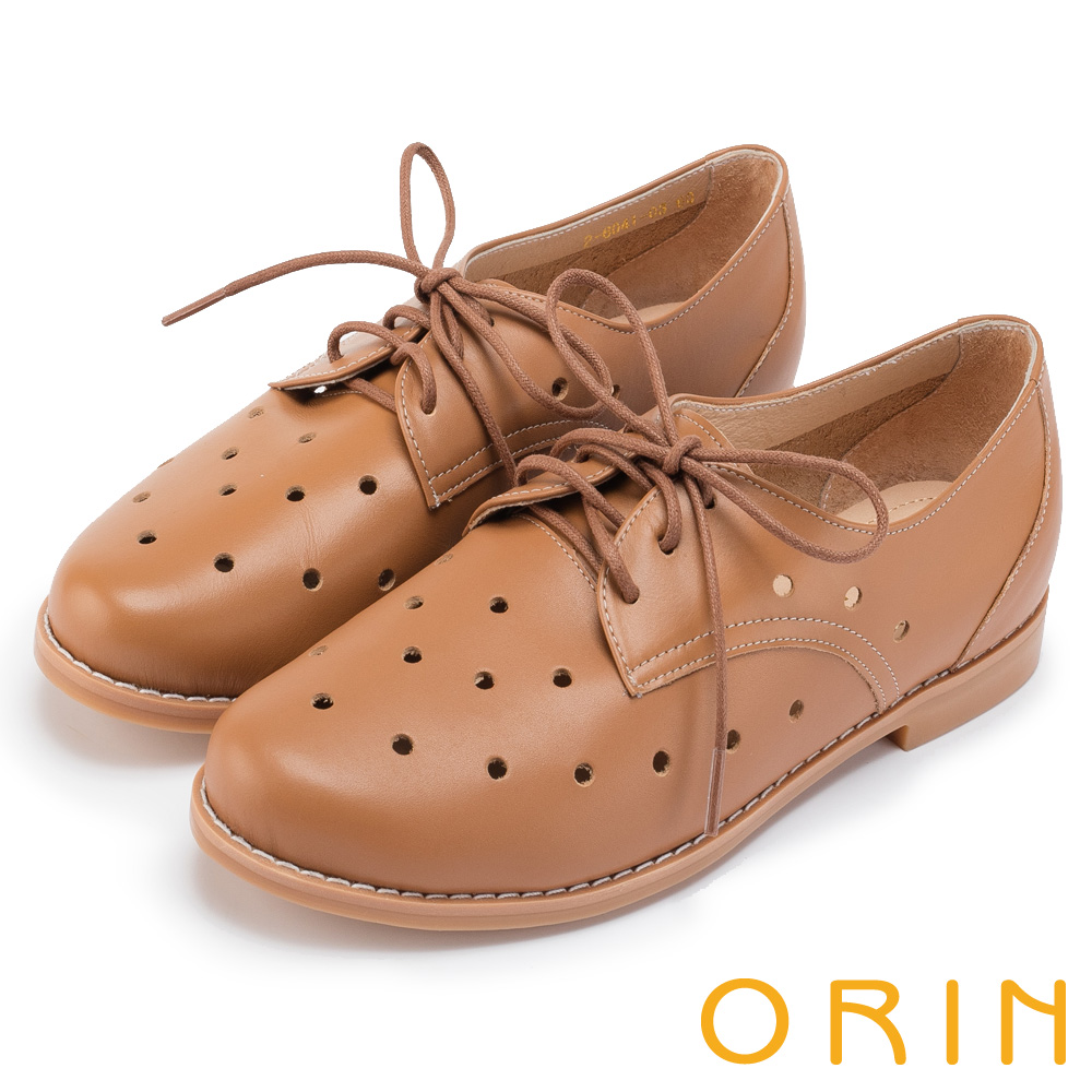 ORIN 復古潮流 透氣洞洞牛皮綁帶牛津休閒鞋-棕色