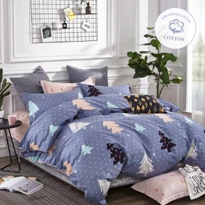 A-ONE 100%純棉-單人床包/被套組-雪森林
