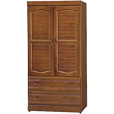 綠活居 優美2.9尺二門二抽衣櫃(二色)87.6x56.4x-178.5cm免組