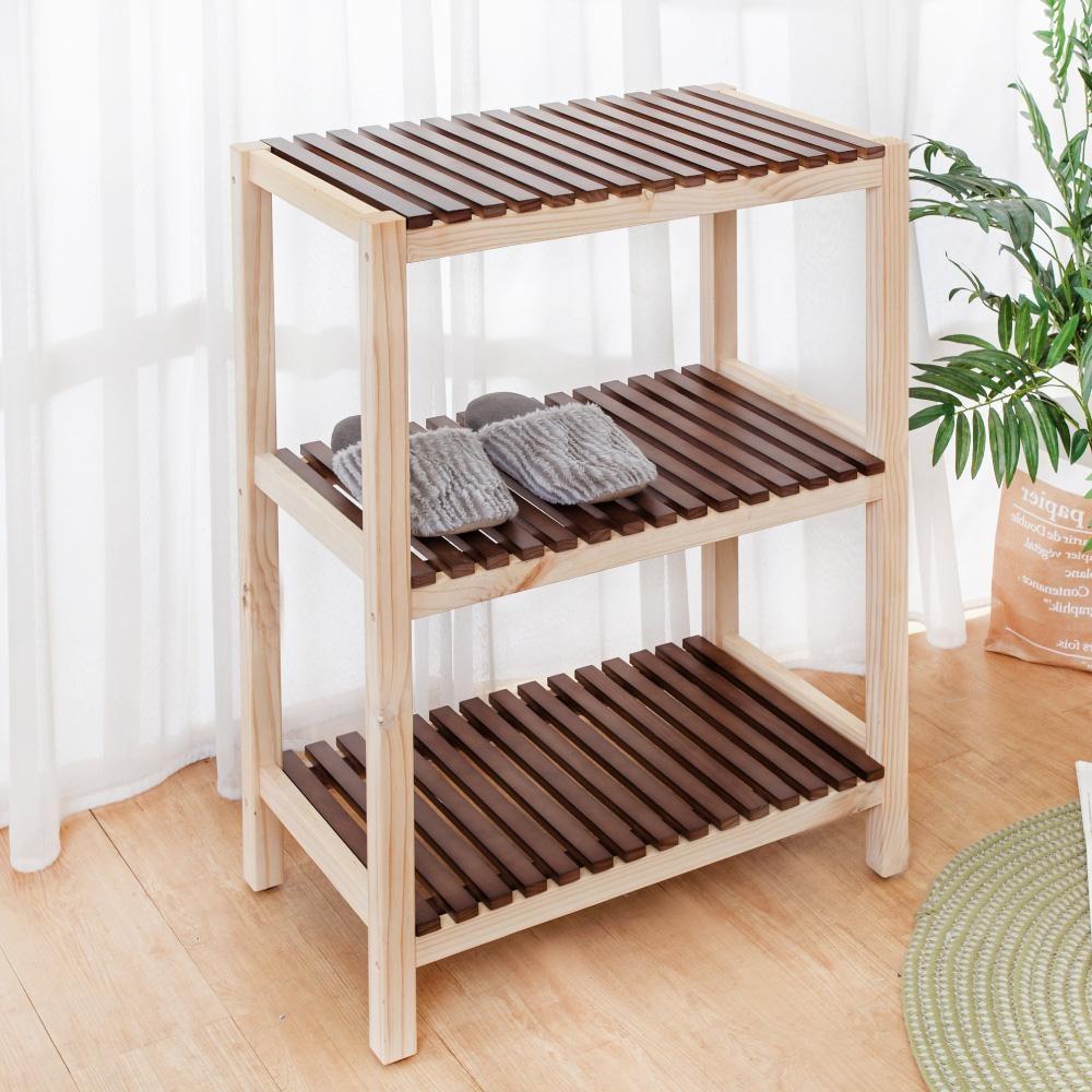 Bernice-簡約全實木雙色三層置物架/收納架-DIY-61x35x84cm